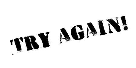 Try Again rubber stamp. Grunge design with dust scratches. Effects can be easily removed for a clean, crisp look. Color is easily changed. Stock Vector - 88093093