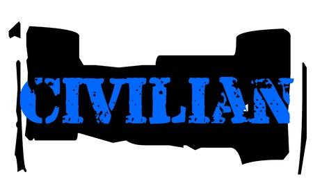 CIVILIAN sticker. Authentic design graphic stamp. Original series
