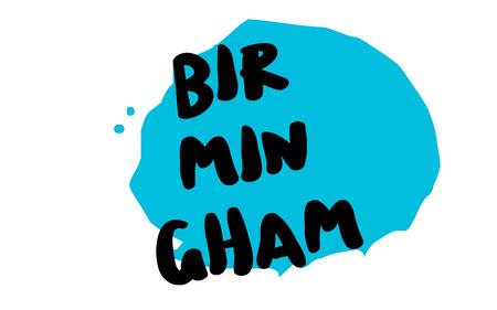 Birmingham sticker. Authentic design graphic stamp. Original series Illustration