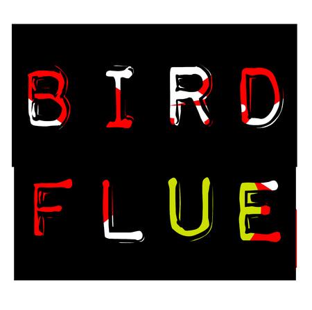 Bird flue sticker. Authentic design graphic stamp. Original series
