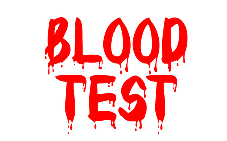 Blood test sticker. Authentic design graphic stamp. Original series