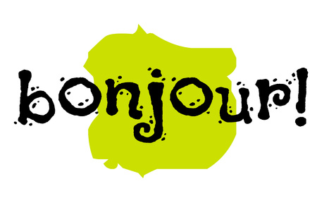 Bonjour sticker. Hello in frech language. Authentic design graphic stamp. Original series Illustration