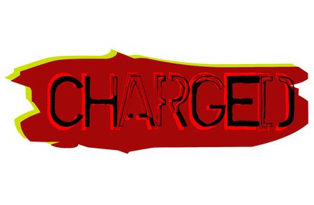 Charged sticker. Authentic design graphic stamp. Original series Illustration