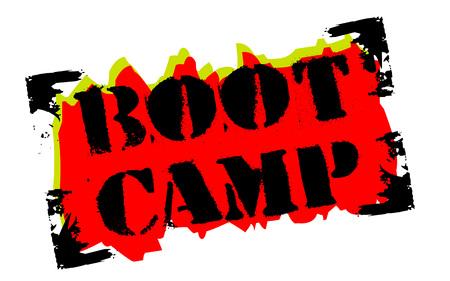 Boot camp sticker. Authentic design graphic stamp. Original series