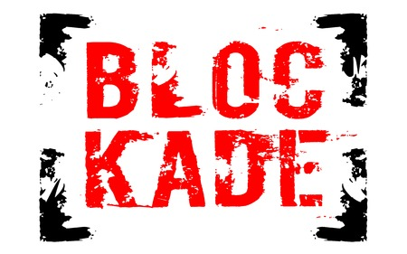 Blockade sticker. Authentic design graphic stamp. Original series Illustration