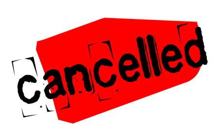 Cancelled sticker. Authentic design graphic stamp. Original series Illustration