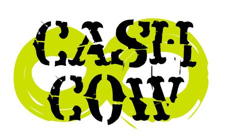 Cash cow sticker. Authentic design graphic stamp. Original series Illustration