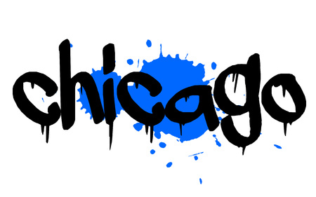 midwest: CHICAGO sticker. Authentic design graphic stamp. Original series