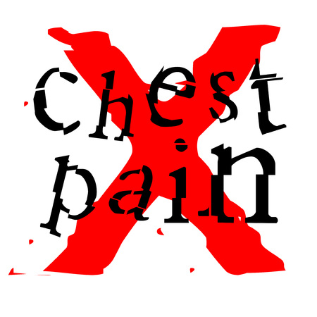 CHest pain sticker. Authentic design graphic stamp. Original series