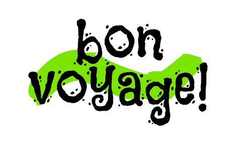 Bon voyage sticker. Good journey in french language. Authentic design graphic stamp. Original series