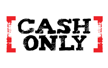 Cash only sticker. Authentic design graphic stamp. Original series