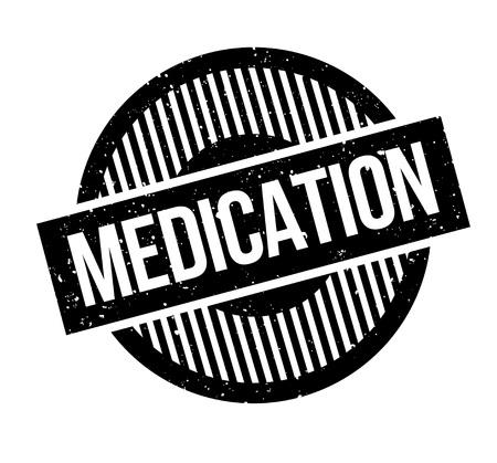Medicatie rubberstempel. Grungeontwerp met stofkrassen. Effecten kunnen eenvoudig worden verwijderd voor een schone, heldere look. Kleur is gemakkelijk te veranderen. Stock Illustratie
