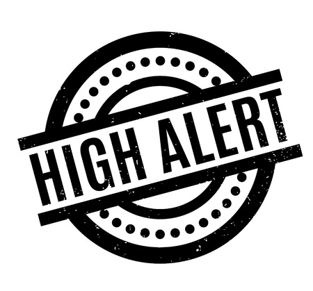 be careful: High Alert rubber stamp. Grunge design with dust scratches. Effects can be easily removed for a clean, crisp look. Color is easily changed.