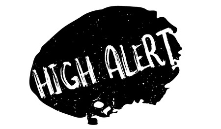 High Alert rubber stamp. Grunge design with dust scratches. Effects can be easily removed for a clean, crisp look. Color is easily changed.