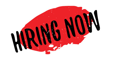 Hiring Now rubber stamp. Grunge design with dust scratches. Effects can be easily removed for a clean, crisp look. Color is easily changed. Illustration