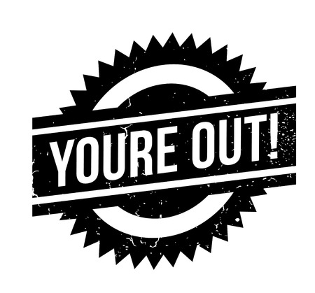 Youre Out rubber stamp. Grunge design with dust scratches. Effects can be easily removed for a clean, crisp look. Color is easily changed.