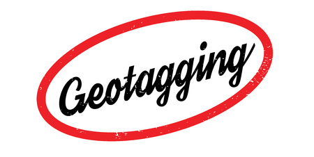 Geotagging rubber stamp. Grunge design with dust scratches. Effects can be easily removed for a clean, crisp look..