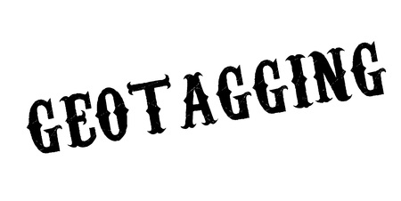 Geotagging rubber stamp. Grunge design with dust scratches. Effects can be easily removed for a clean, crisp look.