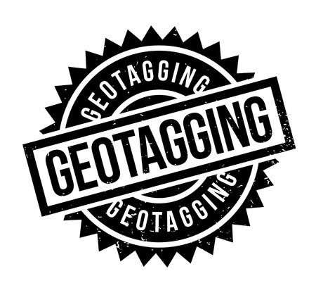 Geotagging rubber stamp.