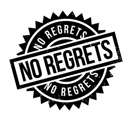 No Regrets rubber stamp. Grunge design with dust scratches. Effects can be easily removed for a clean, crisp look..