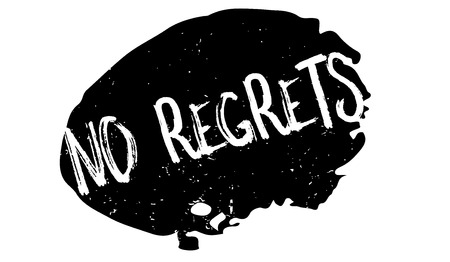 No Regrets rubber stamp. Grunge design with dust scratches. Effects can be easily removed for a clean, crisp look.