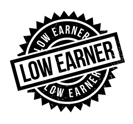 Low Earner rubber stamp. Grunge design with dust scratches. Effects can be easily removed for a clean, crisp look. Color is easily changed. Illustration