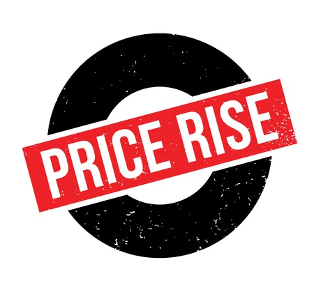 Price Rise rubber stamp. Grunge design with dust scratches. Effects can be easily removed for a clean, crisp look. Color is easily changed.