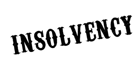 Insolvency rubber stamp. Grunge design with dust scratches. Effects can be easily removed for a clean, crisp look. Color is easily changed.