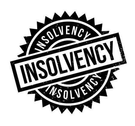 indebted: Insolvency rubber stamp. Grunge design with dust scratches. Effects can be easily removed for a clean, crisp look. Color is easily changed.