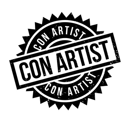 Con Artist rubber stamp. Grunge design with dust scratches. Effects can be easily removed for a clean, crisp look. Color is easily changed.