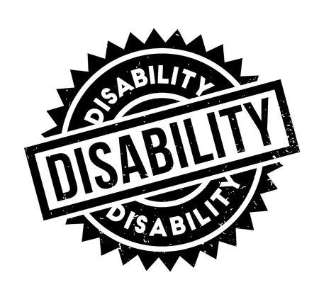 Disability rubber stamp. Grunge design with dust scratches. Effects can be easily removed for a clean, crisp look. Color is easily changed.