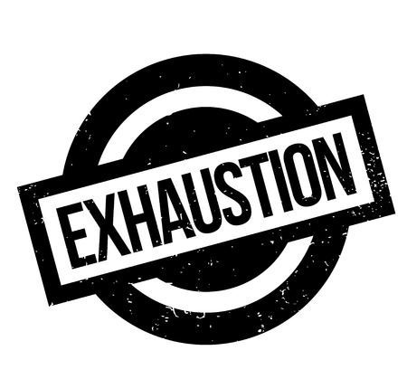 Exhaustion rubber stamp. Grunge design with dust scratches. Effects can be easily removed for a clean, crisp look. Color is easily changed.