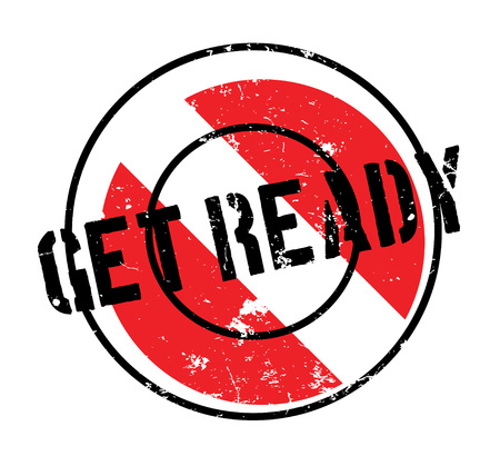 Get Ready rubber stamp. Grunge design with dust scratches. Effects can be easily removed for a clean, crisp look. Color is easily changed. Illusztráció