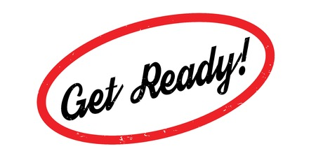 Get Ready rubberstempel. Grungeontwerp met stofkrassen. Effecten kunnen eenvoudig worden verwijderd voor een schone, heldere look. Kleur is gemakkelijk te veranderen.