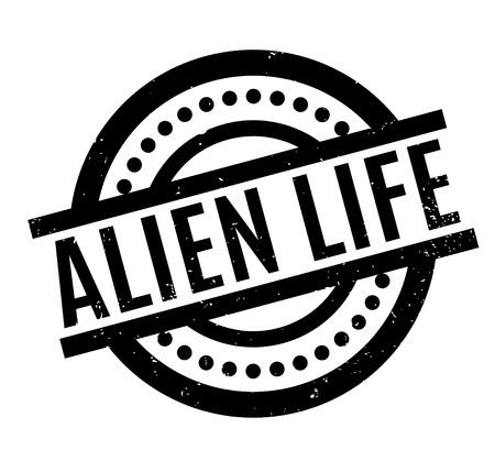 platillo volador: Sello de goma Alien Life. Diseño de Grunge con rayas de polvo. Los efectos se pueden eliminar fácilmente para una apariencia limpia y nítida. El color se cambia fácilmente.
