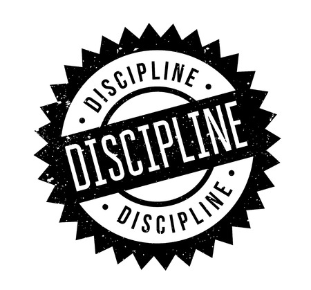 Discipline rubber stamp. Grunge design with dust scratches. Effects can be easily removed for a clean, crisp look. Color is easily changed.