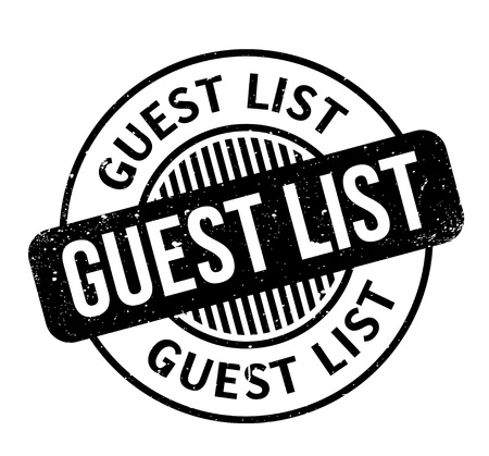Guest List rubber stamp. Grunge design with dust scratches. Effects can be easily removed for a clean, crisp look. Color is easily changed.
