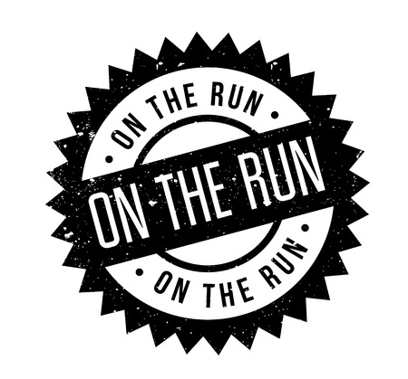 On The Run rubber stamp. Grunge design with dust scratches. Effects can be easily removed for a clean, crisp look. Color is easily changed. Illustration