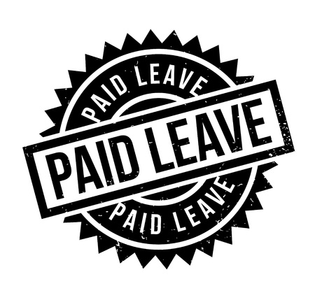 Paid Leave rubber stamp. Grunge design with dust scratches. Effects can be easily removed for a clean, crisp look. Color is easily changed.
