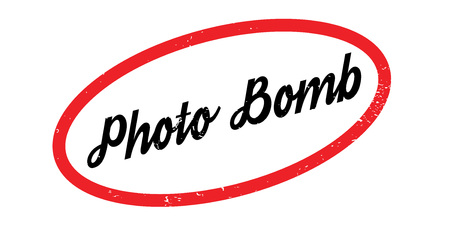 Photo Bomb rubber stamp. Grunge design with dust scratches. Effects can be easily removed for a clean, crisp look. Color is easily changed. Ilustração
