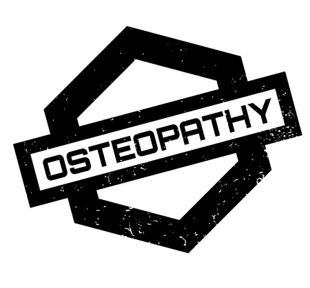 Osteopathy rubber stamp. Grunge design with dust scratches. Effects can be easily removed for a clean, crisp look. Color is easily changed.