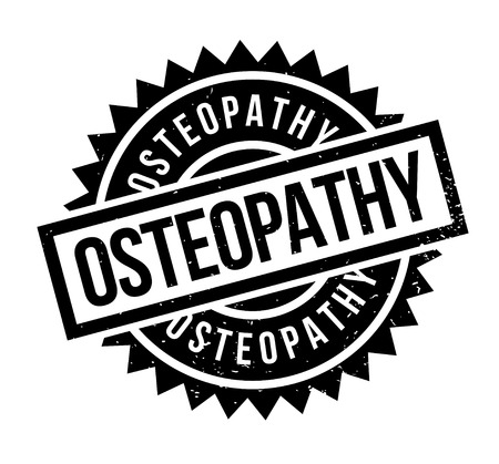 complementary therapies: Osteopathy rubber stamp. Grunge design with dust scratches. Effects can be easily removed for a clean, crisp look. Color is easily changed.