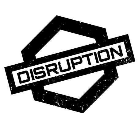 Disruption rubber stamp. Grunge design with dust scratches. Effects can be easily removed for a clean, crisp look. Color is easily changed.
