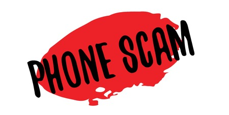 Phone Scam rubber stamp. Grunge design with dust scratches. Effects can be easily removed for a clean, crisp look. Color is easily changed. Ilustrace