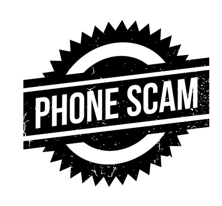 Phone Scam rubber stamp. Grunge design with dust scratches. Effects can be easily removed for a clean, crisp look. Color is easily changed. Çizim