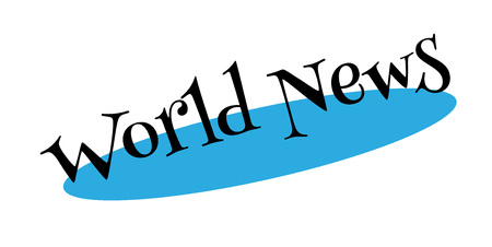 old newspaper: World News rubber stamp. Grunge design with dust scratches. Effects can be easily removed for a clean, crisp look. Color is easily changed.