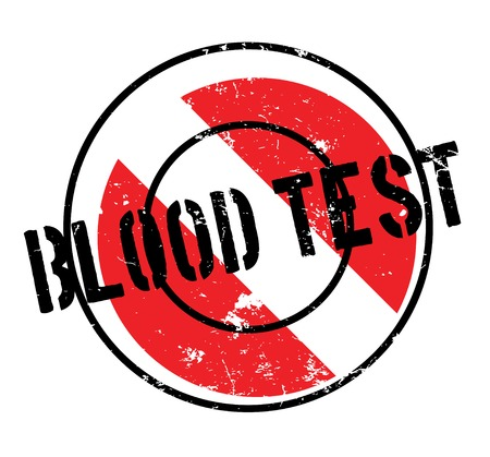 Blood Test rubber stamp. Grunge design with dust scratches. Effects can be easily removed for a clean, crisp look. Color is easily changed.