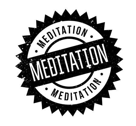 reflect: Meditation rubber stamp. Grunge design with dust scratches. Effects can be easily removed for a clean, crisp look. Color is easily changed. Illustration