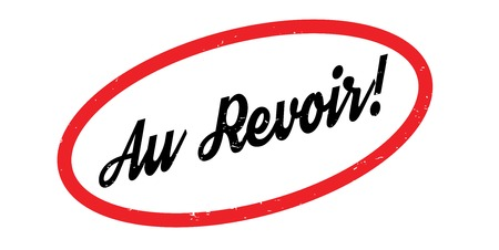 Au Revoir rubber stamp. Grunge design with dust scratches. Effects can be easily removed for a clean, crisp look. Color is easily changed.