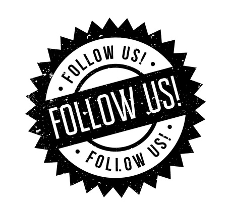 Follow Us rubber stamp. Grunge design with dust scratches. Effects can be easily removed for a clean, crisp look. Color is easily changed. Illustration